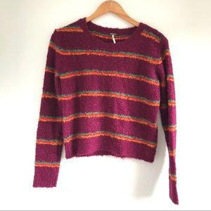 Free People colorful striped cropped sweater XS